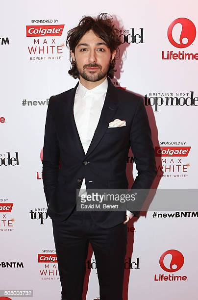Alex Zane attends Lifetime's launch of Britain's Next Top Model airing tonight at 9pm on Lifetime at Kensington Roof Gardens on January 14 2016 in...