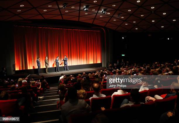 Alex Zane Christopher McQuarrie Tom Cruise and Henry Cavill introduce a screening at the BFI Southbank after the UK Premiere of 'Mission Impossible...