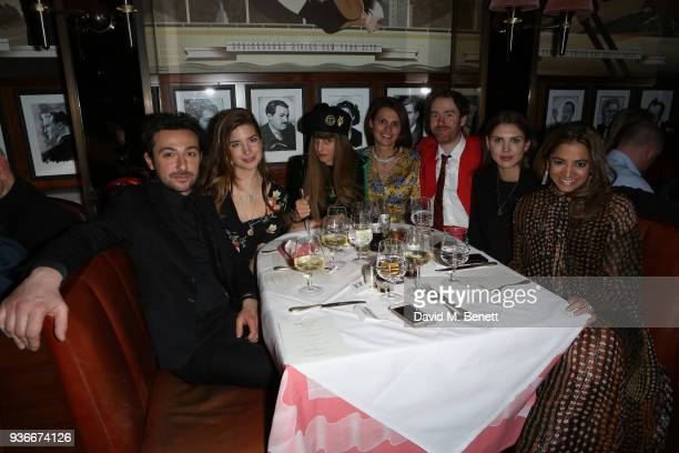 Alex Zane Nettie Wakefield Charlotte Colbert Olivia Cole Philip Colbert Sabrina Percy and Katy Wickremesinghe attend a dinner in celebration of Wim...