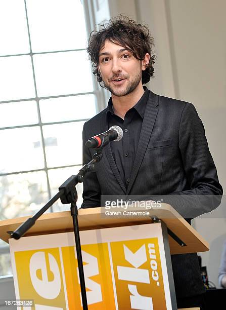 Alex Zane speaks during a social media party to launch the 'FDA Summer 2013 At The Cinema' at Somerset House on April 23 2013 in London England