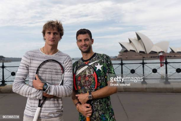 Alex Zverev and Grigor Dimitrov pose for a photo during the Sydney Fast4 Media Opportunity at Hickson Road Reserve on January 8 2018 in Sydney...