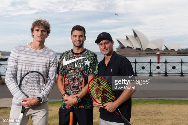 Alex Zverev Grigor Dimitrov and Lleyton Hewitt are pictured during the Sydney Fast4 Media Opportunity at Hickson Road Reserve on January 8 2018 in...