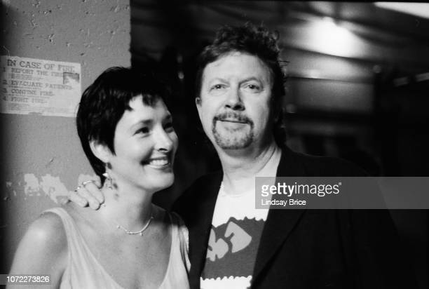 Alexa and Tom Robbins pause for a photograph together backstage at the Allen Ginsberg Memorial at the Wadsworth Theatre on June 21 1997 in Los...