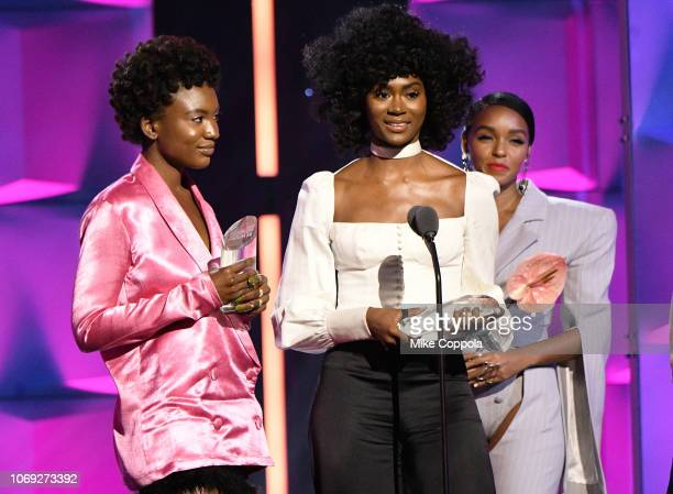 Alexa Belle St Beauty and Isis Valentina St Beauty speak onstage during the Billboard Women In Music 2018 on December 6 2018 in New York City