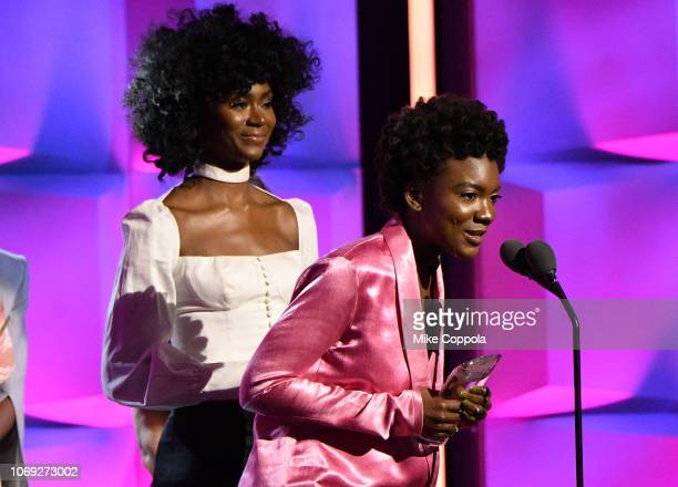 Alexa Belle St Beauty Isis Valentina St Beauty speak onstage during the Billboard Women In Music 2018 on December 6 2018 in New York City