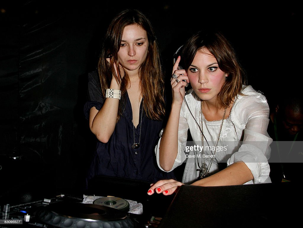 Alexa Chung (R) and a guest attend the launch party for Form Menswear, at Harrods on October 2, 2008 in London, England.