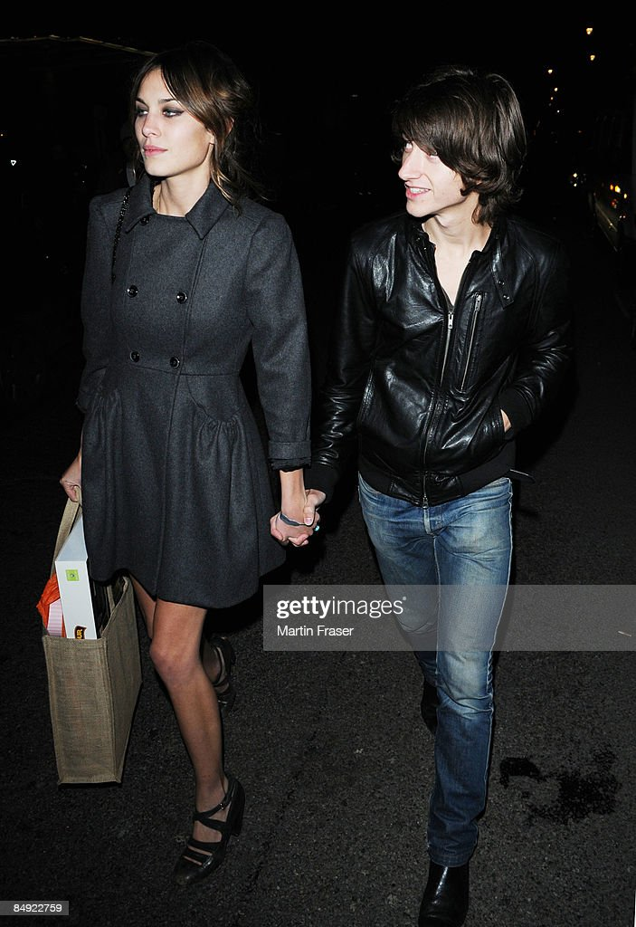 Alexa Chung and Alex Turner attend the Universal Brit Awards 2009 after-party at Claridges Ballroom not the Brit Awards 2009 Sony party at Jalouse on February 18, 2009 in London, England.