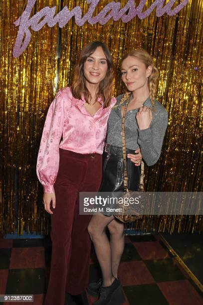 Alexa Chung and Clara Paget attend the ALEXACHUNG Fantastic collection party on January 30 2018 in London England