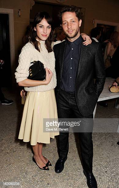 Alexa Chung and Derek Blasberg attend the AnOther Magazine and Dazed Confused party with Belvedere Vodka at the Cafe Royal hotel on February 18 2013...