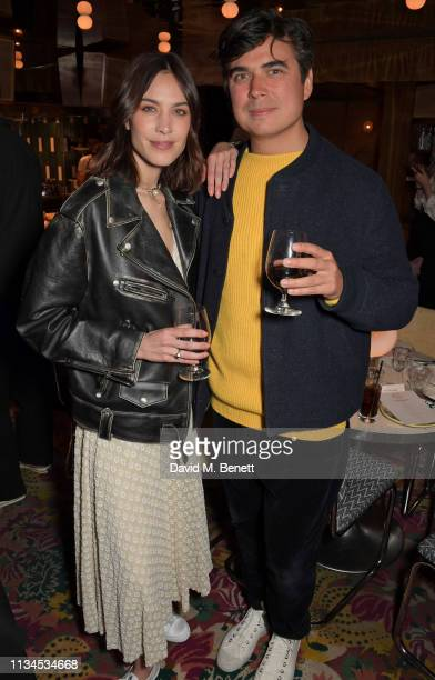 Alexa Chung and Dom Chung attend an exclusive dinner to celebrate the launch of the Alexa Chung and Superga SS19 collection at Gloria Trattoria on...