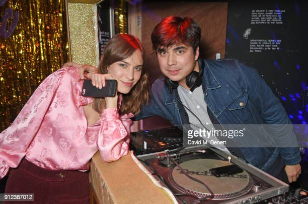 Alexa Chung and Dominic Chung attend the ALEXACHUNG Fantastic collection party on January 30 2018 in London England