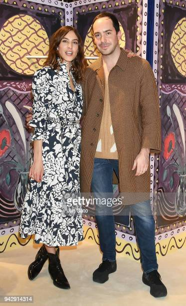Alexa Chung and Edwin Bodson of Managing Director of ALEXACHUNG attend the promotional event for ALEXACHUNG Virginia Collection at Isetan Shinjuku...