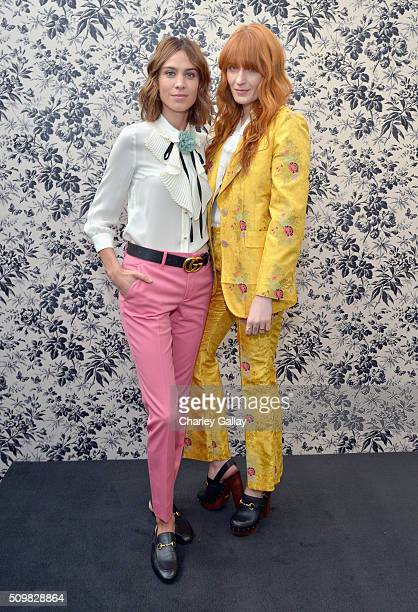 Alexa Chung and Florence Welch attend Gucci Timepieces and Jewelry announces Florence Welch as 2016 Brand Ambassador on February 12 2016 in Los...
