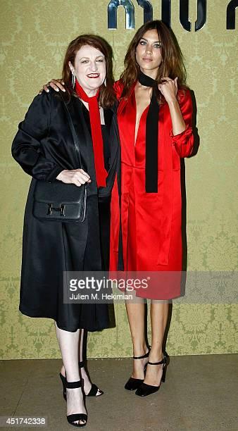 Alexa Chung and Glenda Bailey attend the Miu Miu Resort Collection 2015 at Palais d'Iena on July 5 2014 in Paris France