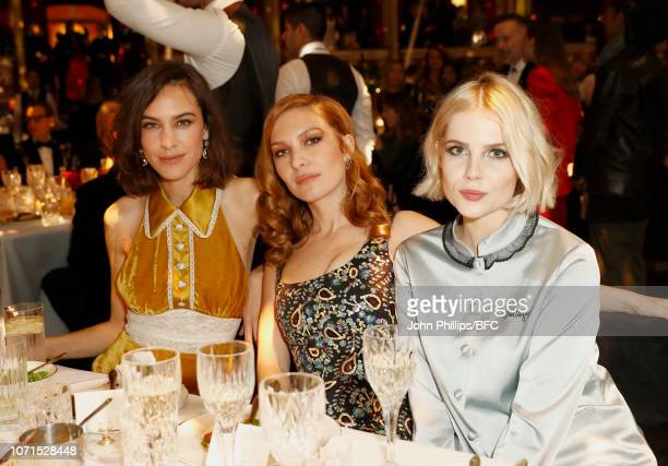 Alexa Chung and Josephine de La Baume and attend The Fashion Awards 2018 In Partnership With Swarovski at Royal Albert Hall on December 10 2018 in...