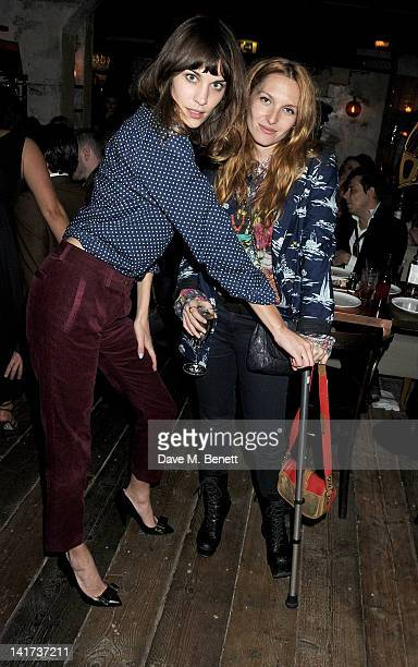 Alexa Chung and Josephine de la Baume attend a private dinner celebrating the Spring/Summer issue of Another Man magazine and the UK launch of BLK...