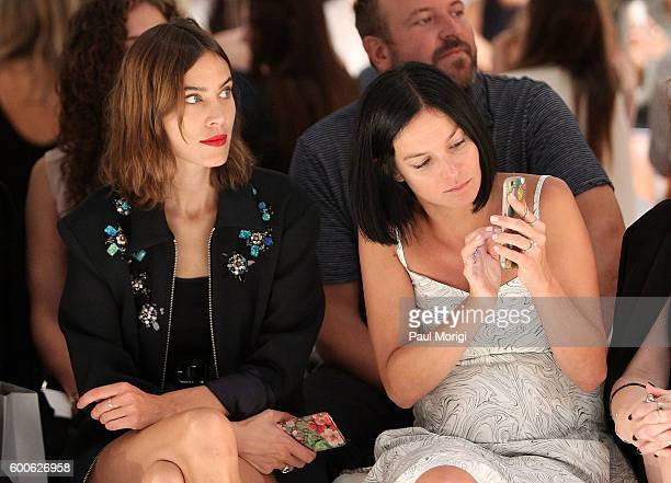 Alexa Chung and Leigh Lezark watch a model on the runway at the Noon By Noor fashion show during New York Fashion Week The Shows September 2016 at...