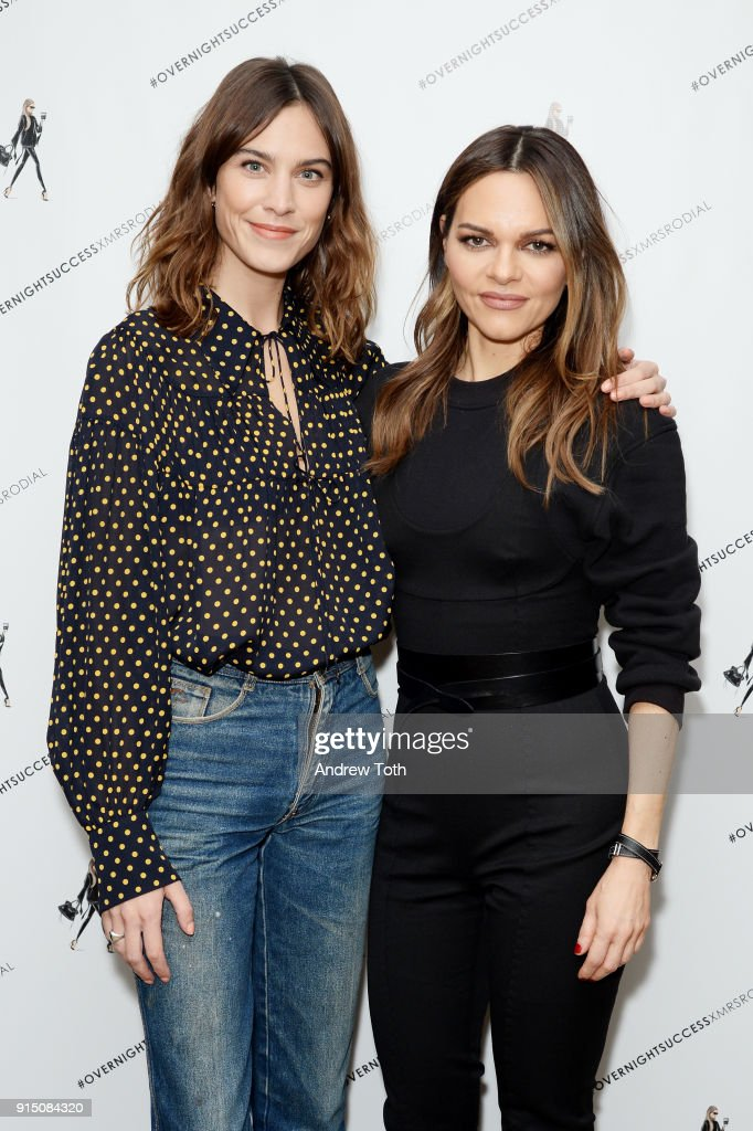 Alexa Chung (L) and Maria Hatzistefanis attend the launch of How To Be An Overnight Success at Crosby Street Hotel on February 6, 2018 in New York City.