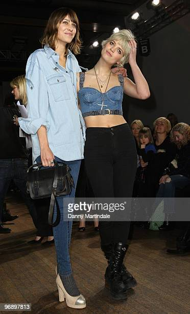 Alexa Chung and Pixie Geldof pose on the front row at the House Of Holland show for London Fashion Week Autumn/Winter 2010 at Bloomsbury Ballroom on...