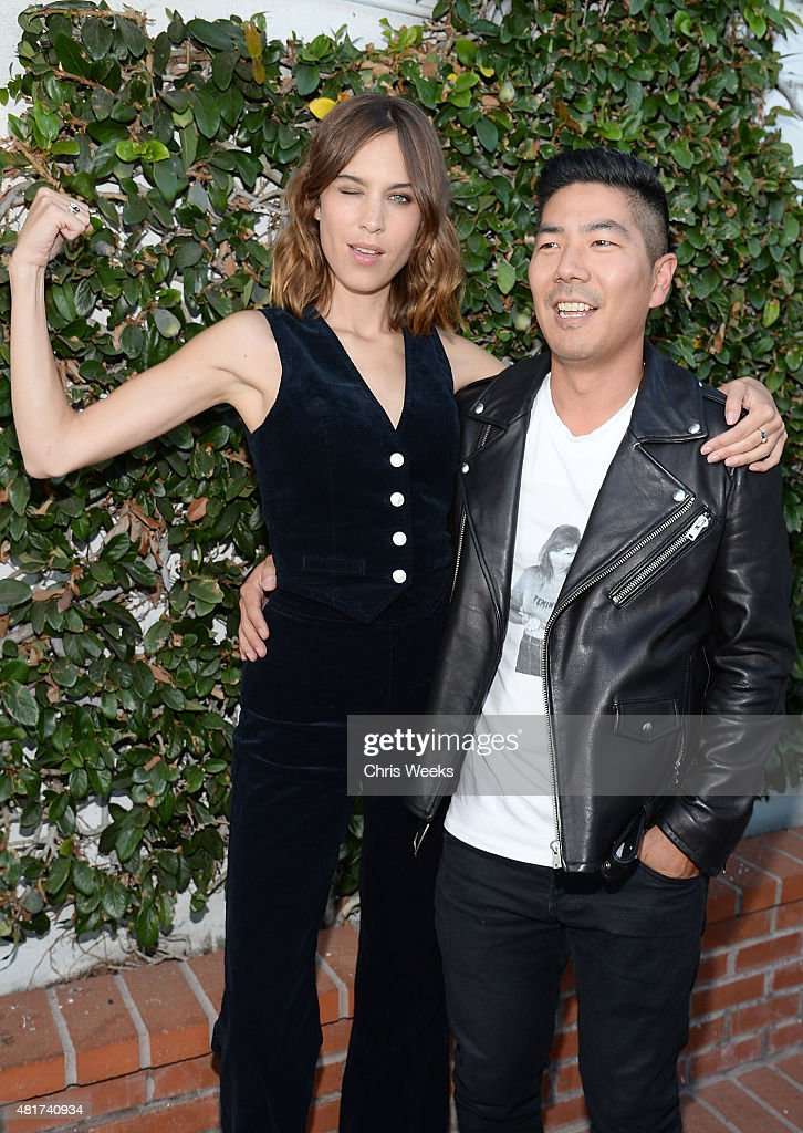 Alexa Chung and Samuel Ku, president and creative director, attends the launch of Alexa Chung X AG PA at Ron Herman on July 23, 2015 in Los Angeles, California.