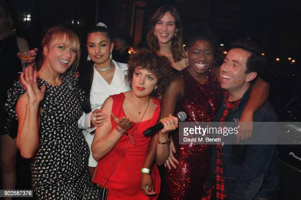 Alexa Chung and Sara Cox attend the Universal Music BRIT Awards AfterParty 2018 hosted by Soho House and Bacardi at The Ned on February 21 2018 in...