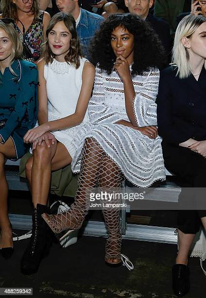 Alexa Chung and Solange Knowles attend the Phillip Lim collection during Spring 2016 New York Fashion Week at Pier 94 on September 14, 2015 in New...