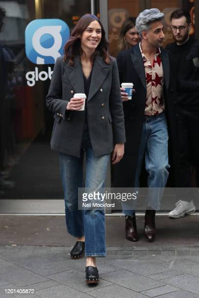 Alexa Chung and Tan France seen leaving the Global Radio Studios on January 23 2020 in London England