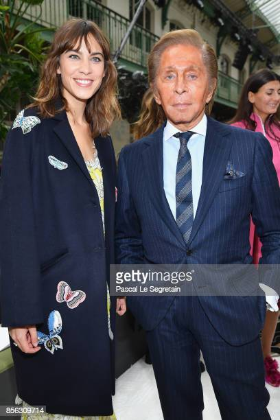 Alexa Chung and Valentino Garavani attend the Valentino show as part of the Paris Fashion Week Womenswear Spring/Summer 2018 on October 1 2017 in...