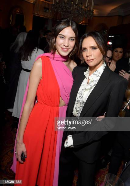Alexa Chung and Victoria Beckham attend the Victoria Beckham x YouTube Fashion Beauty After Party at London Fashion Week hosted by Derek Blasberg and...