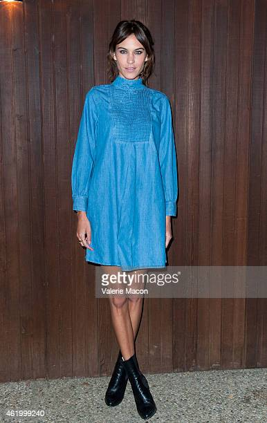 Alexa Chung arrives at Alexa Chung For AG Los Angeles Launch Party on January 22 2015 in Beverly Hills California