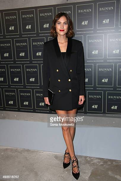 Alexa Chung arrives at the BALMAIN X HM collection launch event at 23 Wall Street on October 20 2015 in New York City