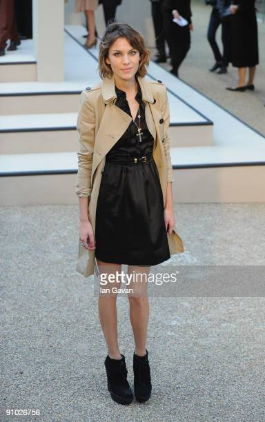 Alexa Chung arrives at the Burberry Prorsum fashion show at Rootstein Hopkins Parade Ground during London Fashion Week on September 22 2009 in London...