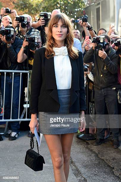 Alexa Chung arrives at the Chanel show during Paris Fashion Week Womenswear SS 2015 on September 30 2014 in Paris France