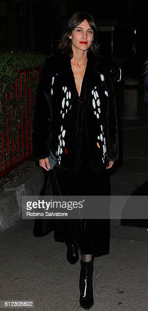 Alexa Chung arrives at Vogue Dinner for Instagram at Giacomo Arengario Restaurant in Piazza Duomo Milan