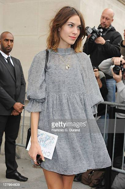 Alexa Chung arrives for the Chanel Ready to Wear Spring / Summer 2012 show during Paris Fashion Week at Grand Palais on October 4, 2011 in Paris,...
