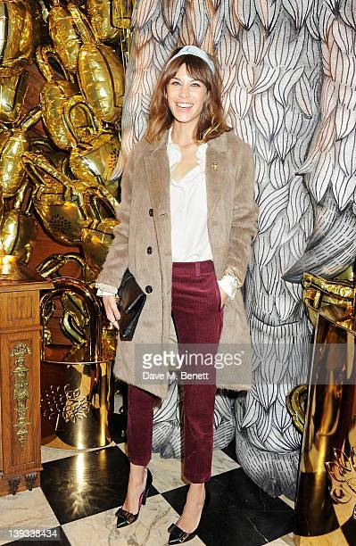 Alexa Chung attends a dinner following the Mulberry Autumn/Winter 2012 show during London Fashion Week at The Savile Club on February 19 2012 in...
