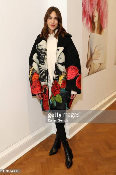 Alexa Chung attends A Magazine curated by Pierpaolo Piccioli launch cocktail at Galerie Thaddaeus Ropac on December 03, 2019 in London, England.