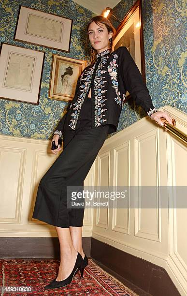 Alexa Chung attends a party hosted by David Beckham and Alister Mackie to celebrate Another Man Magazine at Mark's Club on November 20 2014 in London...