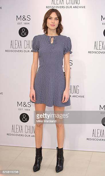 Alexa Chung attends a photocall as Marks Spencer announces a collaboration with Alexa Chung at Marks Spencer Marble Arch on April 13 2016 in London...