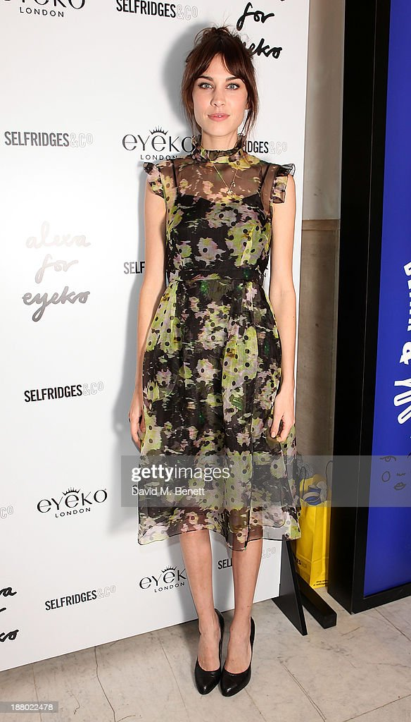 Alexa Chung attends a signing event celebrating the launch of Alexa Chung's new eyeliner and mascara set for Eyeko at Selfridges on November 14, 2013 in London, England.