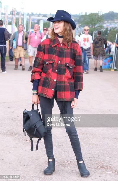 Alexa Chung attends day one of Glastonbury on June 23 2017 in Glastonbury England