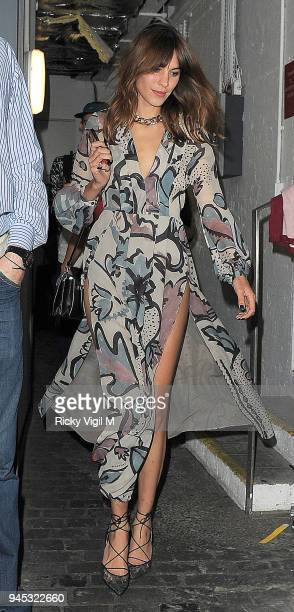 Alexa Chung attends Nick Grimshaw's birthday celebration at Shoreditch House on August 16 2014 in London England