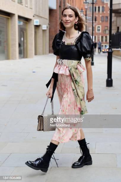 Alexa Chung attends Simone Rocha at St Bartholomew's Hospital during London Fashion Week September 2021 on September 20, 2021 in London, England.