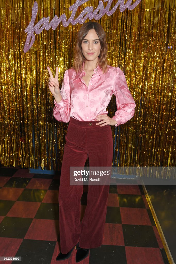 Alexa Chung attends the ALEXACHUNG Fantastic collection party on January 30, 2018 in London, England.