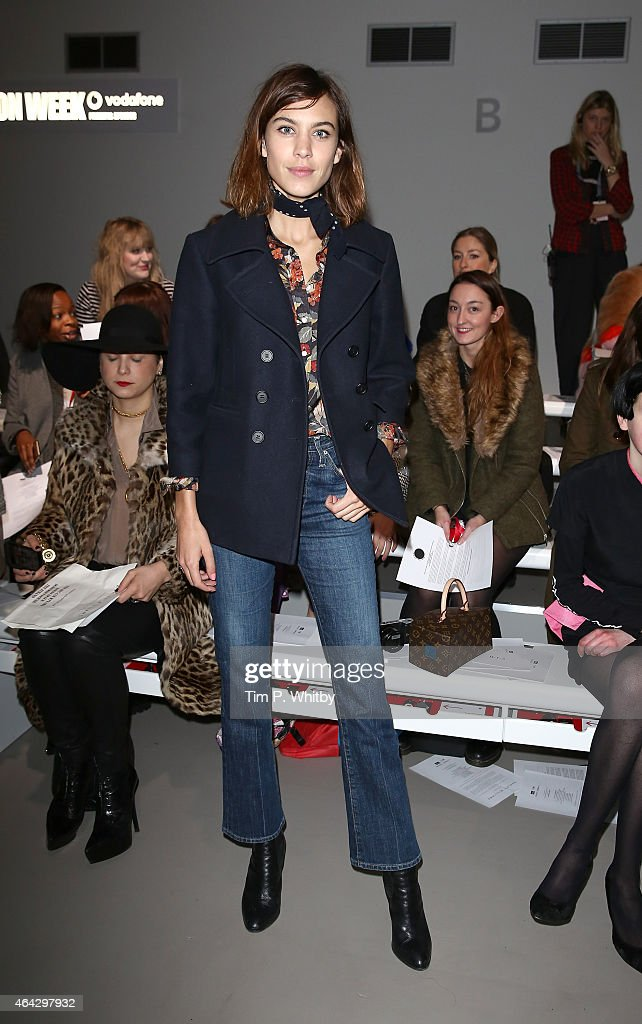 Alexa Chung attends the Ashley Williams show during London Fashion Week Fall/Winter 2015/16 at Somerset House on February 24, 2015 in London, England.