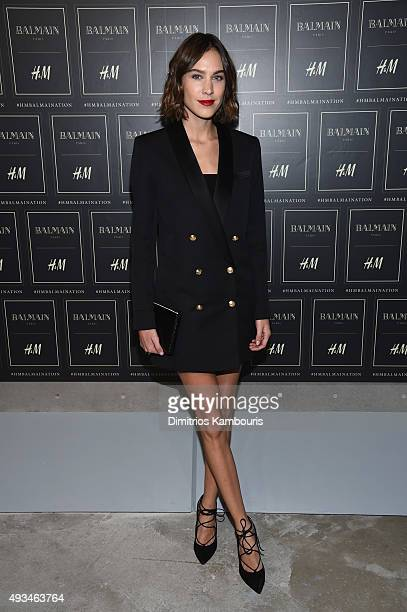 Alexa Chung attends the BALMAIN X HM Collection Launch at 23 Wall Street on October 20 2015 in New York City