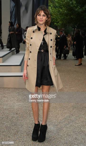 Alexa Chung attends the Burberry show at London Fashion Week Spring Summer 2010 Arrivals on September 22 2009 in London United Kingdom