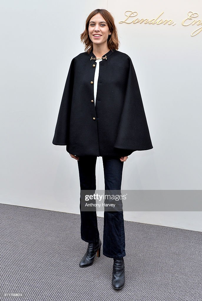 Alexa Chung attends the Burberry show during London Fashion Week Autumn/Winter 2016/17 at Kensington Gardens on February 22, 2016 in London, England.