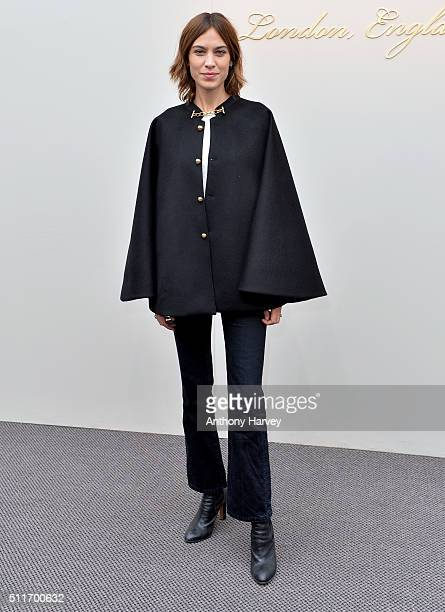 Alexa Chung attends the Burberry show during London Fashion Week Autumn/Winter 2016/17 at Kensington Gardens on February 22 2016 in London England