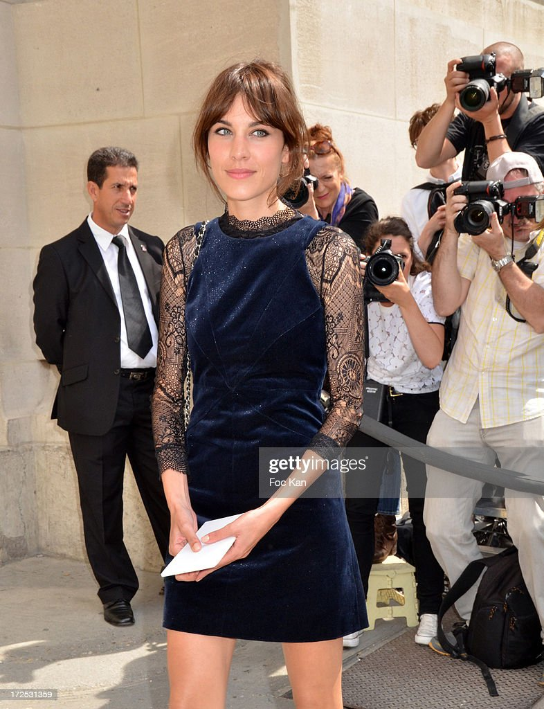 Alexa Chung attends the Chanel show as part of Paris Fashion Week Haute-Couture Fall/Winter 2013-2014 at the Grand Palais on July 2, 2013 in Paris, France.